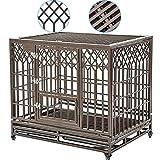 SMONTER - Jaula de metal resistente para perros con dos cerrojos para evitar escapes, jaula grande para perros con ruedas, forma de Y, color plateado oscuro