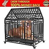 Haige Pet Tu Mascota niñera Jaula Resistente para Perros, Jaula de Juegos para Perros Grandes y Gatos con Dos Bloqueo de Escape y Cuatro Ruedas bloqueables